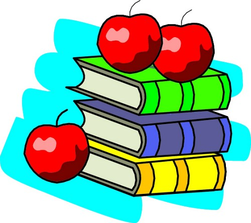 red apples and colorful books